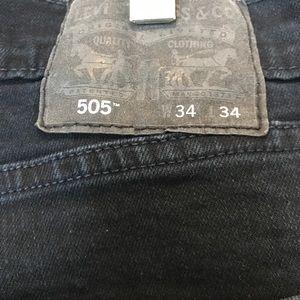 Men's Black Label Levi's 505 Dark Blue Wash 34x34